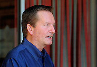Jun. 16, 2009; Casa Grande, AZ, USA; Las Vegas head coach Jim Fassel speaks to the media during the groundbreaking of the Casa Grande Training Facility & Performance Institute in Casa Grande. Mandatory Credit: Mark J. Rebilas-