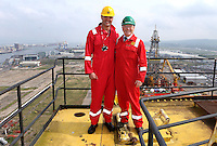 JOHANN MULLER VISITS HARLAND &amp; WOLFF BELFAST -    Wednesday 30th April 2014<br /> <br /> Johann Muller with David McVeigh Sales and Marketing Manager Harland &amp; Wolff  on top of the Samson crane during their Harland &amp; Wolff shipyard in Belfast.<br /> <br /> Mandatory Credit - Photo by John Dickson - DICKSONDIGITAL