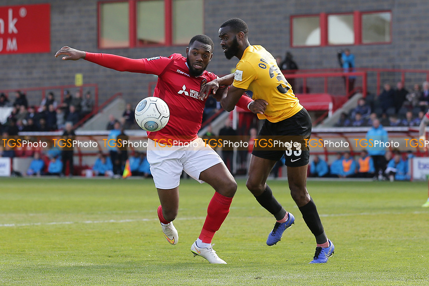 Gozie Ugwu of Ebbsfleet and Emmanuel Onariase of Dagenham and Redbridge during Ebbsfleet United vs Dagenham & Redbridge, Vanarama National League Football at The Kuflink Stadium on 13th April 2019