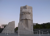 Martin Luther King, Jr. monument at dusk, Washington, DC.
