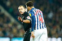 29th December 2019; The Hawthorns, West Bromwich, West Midlands, England; English Championship Football, West Bromwich Albion versus Middlesbrough; Hal Robson-Kanu of West Bromwich Albion complains to Referee Geoff Eltringham - Strictly Editorial Use Only. No use with unauthorized audio, video, data, fixture lists, club/league logos or 'live' services. Online in-match use limited to 120 images, no video emulation. No use in betting, games or single club/league/player publications