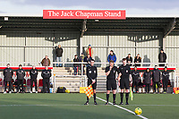 The officials whistle signifies the end of the two minute silence during Harlow Town vs Dulwich Hamlet, Buildbase FA Trophy Football at The Harlow Arena on 11th November 2017