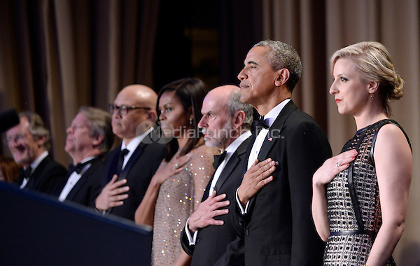 United States President Barack Obama attends the White House Correspondents' Association annual dinner on April 30, 2016 at the Washington Hilton hotel in Washington.This is President Obama's eighth and final White House Correspondents' Association dinner.<br /> Credit: Olivier Douliery / Pool via CNP/MediaPunch