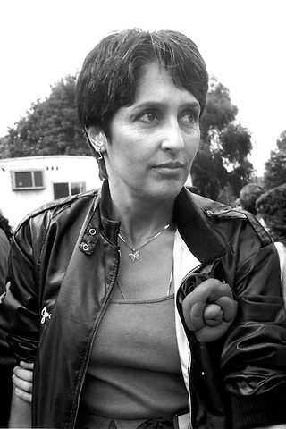 Joan Baez at an International Disarmamaent March of 1 million people in New York City June 12, 1982