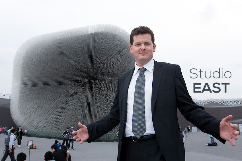 Aden Services' President and CEO Joachim Poylo poses for a photograph in front of the English Pavilion where his company provides security and cleaning services, on Shanghai World Expo 2010 site, in Shanghai, China, on May 14, 2010. Photo by Lucas Schifres/Pictobank