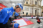 Gazprom-Rusvelo at sign on before the start of Stage 3 of Il Giro di Sicilia running 186km from Caltanissetta to Ragusa, Italy. 5th April 2019.<br /> Picture: LaPresse/Massimo Paolone | Cyclefile<br /> <br /> <br /> All photos usage must carry mandatory copyright credit (&copy; Cyclefile | LaPresse/Massimo Paolone)