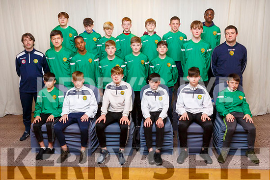 Kerry U13 Soccer Squad.<br /> Seated l to r: Steven Gannon, Niall O&rsquo;Brien, Oisin Healy, Jack Slattery, Christopher Devane and Andrew Kerins.  <br /> 2nd row l to r: JP Mullins (Coach), Finn O&rsquo;Neill, Mohamed Abdalla, Barry Fitzsimons, Paddy McMahon, Ben O&rsquo;Callaghan, Darragh Foley, Joe O&rsquo;Reilly (Coach).<br /> 3rd row l to r: Bruno Borzyw, Jake Hoare, Finton O&rsquo;Sullivan, Nathan Ahern, James Fisher, Finn Barrett and JJ Obaj