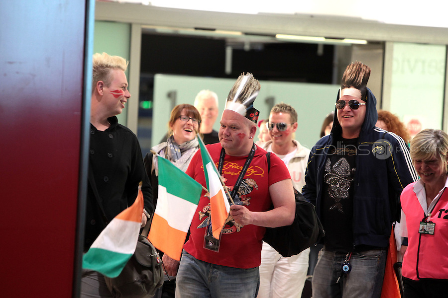 15/5/11 Jedward fans arrive home at T2 Dublin Airport from the Eurovision Song Contest in Dusseldorf, Germany. Picture:Arthur Carron/Collins