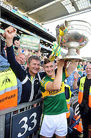 Kerry playerJames O'Donoghue and his father Diarmuid celebrate after winning the All-Ireland Football Final against Donegal in Croke Park 2014.<br /> Photo: Don MacMonagle<br /> <br /> <br /> Photo: Don MacMonagle <br /> e: info@macmonagle.com