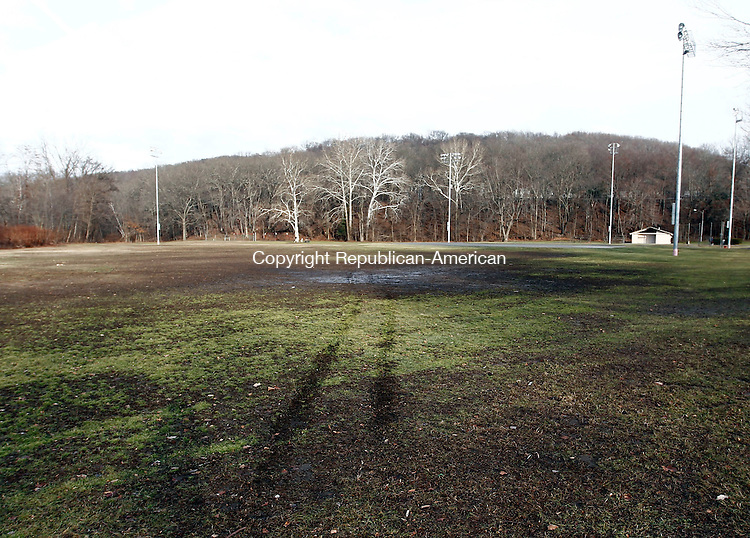 Waterbury, CT- 15 January 2014-011514CM02-  What appears to be tire impressions are left in the outfield of a ball field on Boyden Street in the Waterville Wednesday afternoon.  A quad was said to have caused the damage to the fields.    Christopher Massa Republican-American