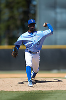 Burlington Royals relief pitcher Marlin Willis (28) in action against the Greeneville Reds at Burlington Athletic Stadium on July 8, 2018 in Burlington, North Carolina. The Royals defeated the Reds 4-2.  (Brian Westerholt/Four Seam Images)