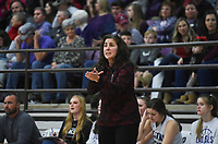 Elkins head coach Monica Wells reacts, Friday, February 14, 2020 during a basketball game at Elkins High School in Elkins. Check out nwaonline.com/prepbball/ for today's photo gallery.<br /> (NWA Democrat-Gazette/Charlie Kaijo)