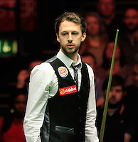 Judd Trump ponders over his next shot during the Dafabet Masters Quarter Final 2 match between Judd Trump and Neil Robertson at Alexandra Palace, London, England on 15 January 2016. Photo by Liam Smith / PRiME Media Images.