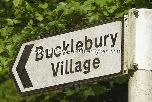 Bucklebury Village sign. Berkshire UK. Where the Kate Middleton family home is.