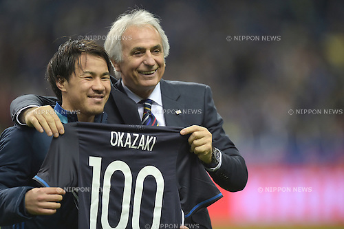 (L-R) Shinji Okazaki,   Vahid Halilhodzic (JPN),<br /> MARCH 29, 2016 - Football / Soccer :<br /> Shinji Okazaki of Japan celebrates his 100th international cap with head coach Vahid Halilhodzic after the FIFA World Cup Russia 2018 Asian Qualifier Second Round Group E match between Japan 5-0 Syria at Saitama Stadium 2002 in Saitama, Japan. (Photo by FAR EAST PRESS/AFLO)