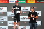 Former multiple Champion Miguel Indur&aacute;in (ESP) on the podium with stage winner Chris Froome (GBR) Team Sky at the end of Stage 16 of the 2017 La Vuelta, an individual time trial running 40.2km from Circuito de Navarra to Logro&ntilde;o, Spain. 5th September 2017.<br /> Picture: Unipublic/&copy;photogomezsport | Cyclefile<br /> <br /> <br /> All photos usage must carry mandatory copyright credit (&copy; Cyclefile | Unipublic/&copy;photogomezsport)