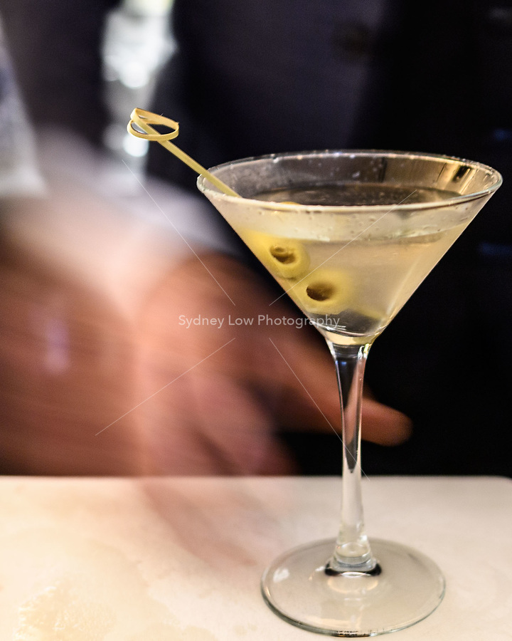 Melbourne, June 13, 2018 - Tim Sawyer making a martini at Philippe in Melbourne, Australia. Photo Sydney Low