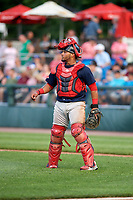 Lowell Spinners catcher Alberto Schmidt (20) during a game against the Auburn Doubledays on July 13, 2018 at Falcon Park in Auburn, New York.  Lowell defeated Auburn 8-5.  (Mike Janes/Four Seam Images)