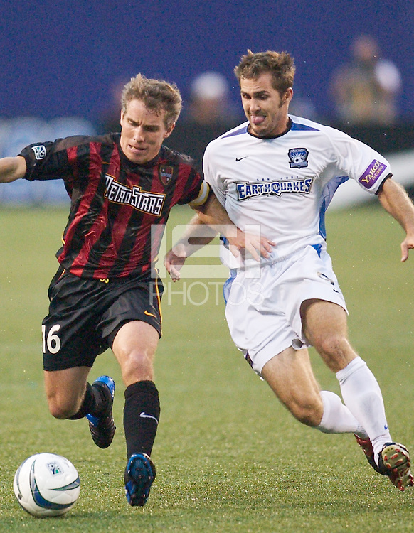 Richie Williams of the MetroStars battles Brian Mullan of the Earthquakes. The San Jose Earthquakes and the the NY/NJ MetroStars played to a 4-4 tie on 7/02/03 at Giant's Stadium, NJ..