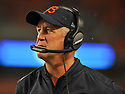 CLEVELAND, OH - SEPTEMBER 1, 2016: Head coach John Fox of the Chicago Bears walks along the sideline in the second quarter of a game on September 1, 2016 against the Cleveland Browns at FirstEnergy Stadium in Cleveland, Ohio. Chicago won 21-7. (Photo by: 2016 Nick Cammett/Diamond Images)  *** Local Caption *** John Fox