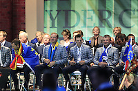 European Team Players on stage at the Closing Ceremony after Sunday's Singles Matches of the 39th Ryder Cup at Medinah Country Club, Chicago, Illinois 30th September 2012 (Photo Colum Watts/www.golffile.ie)