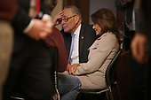 WASHINGTON, DC - JANUARY 08: Speaker of the House Nancy Pelosi (D-CA) and Senate Minority Leader Charles Schumer (D-NY) watch a recording of their televised response to President Donald Trump's national address about border security at the U.S. Capitol January 08, 2019 in Washington, DC. Republicans and Democrats seem no closer to an agreement on security along the southern border and ending the partial federal government shutdown, the second-longest in history. <br /> Credit: Chip Somodevilla / Pool via CNP
