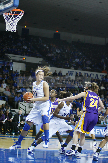 Sarah Barnette grabs a rebound after a missed freethrow in the game against Tennessee Tech at Memorial Coliseum on December 7, 2010. Photo by Ryan Buckler | Staff