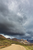 Storm clouds fill the sky in Sable Pass, Denali National Park road, Interior, Alaska.