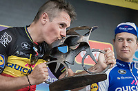 race winner Philippe Gilbert (BEL/Quick Step floors) kissing his trophy on the podium<br /> <br /> 101th Ronde Van Vlaanderen 2017 (1.UWT)<br /> 1day race: Antwerp &rsaquo; Oudenaarde - BEL (260km)