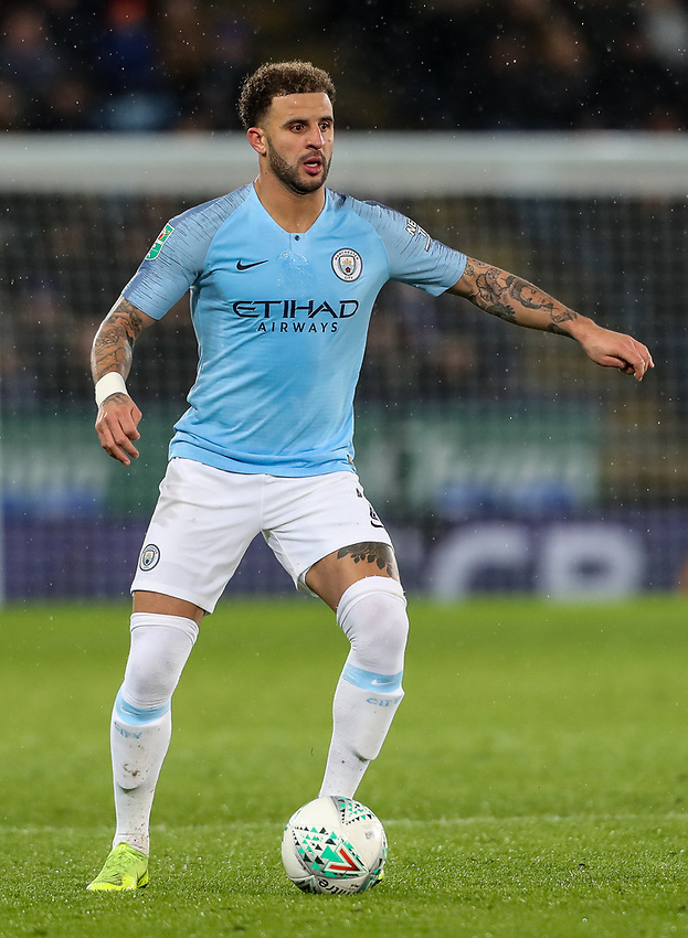 Manchester City's Kyle Walker <br /> <br /> Photographer Andrew Kearns/CameraSport<br /> <br /> English League Cup - Carabao Cup Quarter Final - Leicester City v Manchester City - Tuesday 18th December 2018 - King Power Stadium - Leicester<br />  <br /> World Copyright © 2018 CameraSport. All rights reserved. 43 Linden Ave. Countesthorpe. Leicester. England. LE8 5PG - Tel: +44 (0) 116 277 4147 - admin@camerasport.com - www.camerasport.com