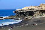 Black sand beach and cliffs at Ajuy, Fuerteventura, Canary Islands, Spain
