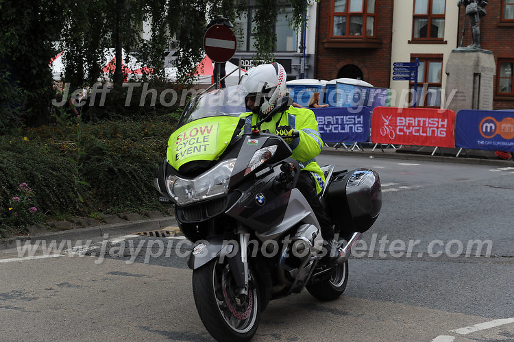 """One of the many emergency motorcycles during the Abergavenny Festival of Cycling """"Grand Prix of Wales"""" race on Sunday 17th 2016<br /> <br /> <br /> Jeff Thomas Photography -  www.jaypics.photoshelter.com - <br /> e-mail swansea1001@hotmail.co.uk -<br /> Mob: 07837 386244 -"""