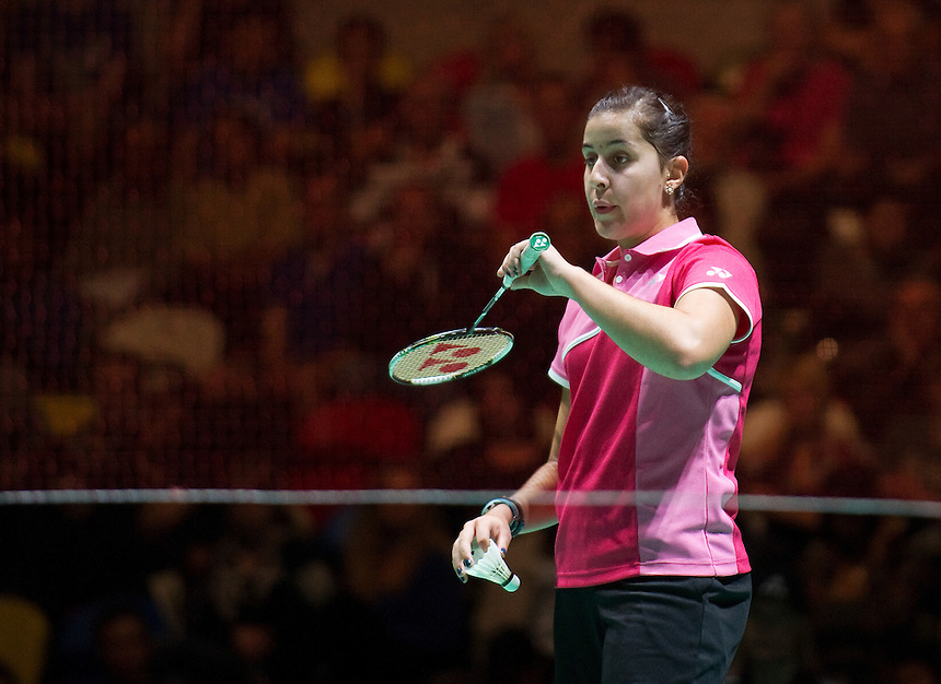 Carolina MARIN (ESP) (3) in action during her Ladies' Singles Finals victory over Kirsty GILMOUR (SCO) (5)<br /> <br /> Carolina MARIN (ESP) def Kirsty GILMOUR (SCO) 21-19 21-9<br /> <br /> Photo by Ashley Western/CameraSport<br /> <br /> Badminton - Badminton World Federation Grand Prix Gold 2013 - Day 6 - Sunday 6th October 2013 - Copper Box Arena, Queen Elizabeth II Olympic Park, London<br /> <br /> &copy; CameraSport - 43 Linden Ave. Countesthorpe. Leicester. England. LE8 5PG - Tel: +44 (0) 116 277 4147 - admin@camerasport.com - www.camerasport.com