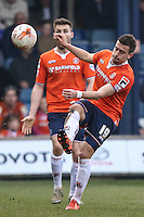 Oliver Lee of Luton Town clears the ball during the Sky Bet League 2 match between Luton Town and Crawley Town at Kenilworth Road, Luton, England on 12 March 2016. Photo by David Horn/PRiME Media Images.