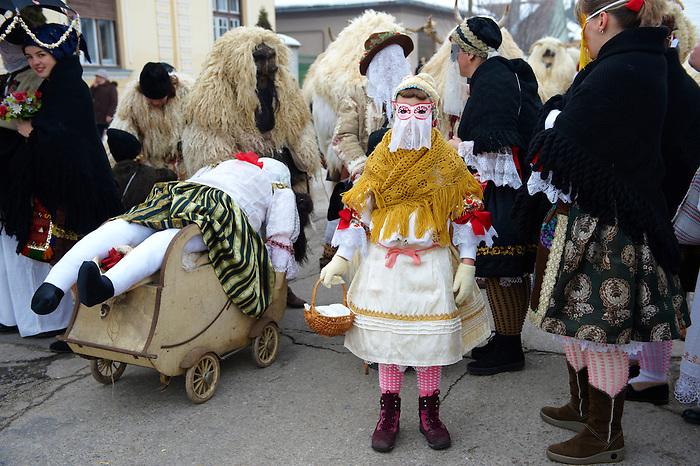 Hungarian Sokácok on the Tuesday procession of the Busojaras Spring  festival 2010 Mohacs Hungary - Stock photos