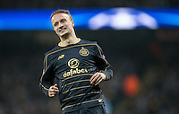 Leigh Griffiths of Celtic during the UEFA Champions League GROUP match between Manchester City and Celtic at the Etihad Stadium, Manchester, England on 6 December 2016. Photo by Andy Rowland.