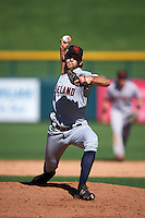 Scottsdale Scorpions pitcher Grant Sides (38) delivers a pitch during an Arizona Fall League game against the Mesa Solar Sox on October 19, 2015 at Sloan Park in Mesa, Arizona.  Scottsdale defeated Mesa 10-6.  (Mike Janes/Four Seam Images)