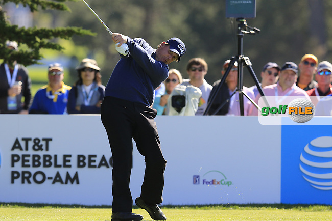 Phil Mickelson (USA) tees off the 14th tee at Pebble Beach Golf Links during Sunday's Final Round 4 of the 2017 AT&amp;T Pebble Beach Pro-Am held over 3 courses, Pebble Beach, Spyglass Hill and Monterey Penninsula Country Club, Monterey, California, USA. 12th February 2017.<br /> Picture: Eoin Clarke | Golffile<br /> <br /> <br /> All photos usage must carry mandatory copyright credit (&copy; Golffile | Eoin Clarke)