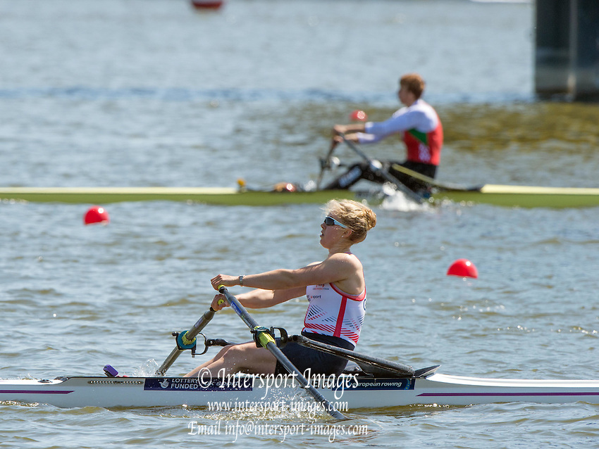 Brandenburg. GERMANY. GBR W1X Mathilda HODGKINS-BYRNE. 2016 European Rowing Championships at the Regattastrecke Beetzsee<br /> <br /> Saturday  07/05/2016<br /> <br /> [Mandatory Credit; Peter SPURRIER/Intersport-images]