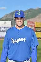 Brock Stewart (29) of the Ogden Raptors poses for a photo during media day on June 14, 2014 at Lindquist Field in Ogden, Utah. (Stephen Smith/Four Seam Images)