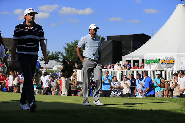Keegan Bradley and Tiger Woods (USA) walk off the 17th tee during Saturday's Round 3 of the 2013 Bridgestone Invitational WGC tournament held at the Firestone Country Club, Akron, Ohio. 3rd August 2013.<br /> Picture: Eoin Clarke www.golffile.ie