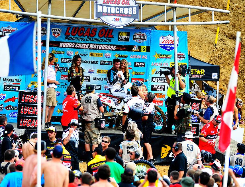 Chad Reed of team Honda takes the podium during the Lucas Oil AMA Pro Motocross at Budds Creek National in Mechanicsville, Maryland on Saturday, June 18, 2011. Alan P. Santos/DC Sports Box