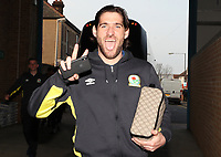 Blackburn Rovers' Danny Graham arrives at the ground<br /> <br /> Photographer Rachel Holborn/CameraSport<br /> <br /> The EFL Sky Bet League One - Gillingham v Blackburn Rovers - Tuesday 10th April 2018 - Priestfield Stadium - Gillingham<br /> <br /> World Copyright &copy; 2018 CameraSport. All rights reserved. 43 Linden Ave. Countesthorpe. Leicester. England. LE8 5PG - Tel: +44 (0) 116 277 4147 - admin@camerasport.com - www.camerasport.com