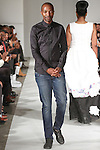 Fashion designer Thula Sindi walks runway with models for the close of his Spring Summer 2015 collection fashion show, during Fashion Week Brooklyn Spring Summer 2015.