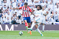 Real Madrid Marcelo and Atletico de Madrid Vitolo Machin during La Liga match between Real Madrid and Atletico de Madrid at Santiago Bernabeu Stadium in Madrid, Spain. April 08, 2018. (ALTERPHOTOS/Borja B.Hojas) /NortePhoto NORTEPHOTOMEXICO
