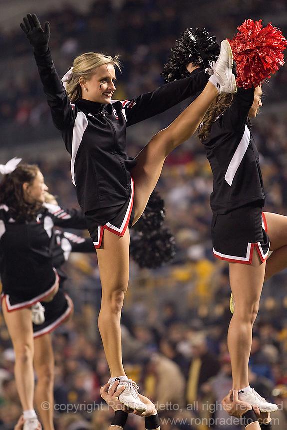Cincinnati cheerleaders. Cincinnati Bearcats defeated the Pitt Panthers 26-23 at Heinz Field in Pittsburgh, Pennsylvania on November 5, 2011.