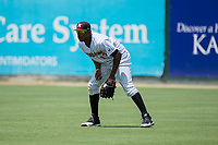 Kannapolis Intimidators right fielder Micker Adolfo (27) on defense against the West Virginia Power at Kannapolis Intimidators Stadium on June 18, 2017 in Kannapolis, North Carolina.  The Intimidators defeated the Power 5-3 to win the South Atlantic League Northern Division first half title.  It is the first trip to the playoffs for the Intimidators since 2009.  (Brian Westerholt/Four Seam Images)