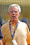 6 March 2012: Sportswriter, broadcaster, and baseball Hall of Fame honoree Peter Gammons watches the Atlanta Braves take batting practice prior to facing the Washington Nationals at Champion Park in Disney's Wide World of Sports Complex, Orlando, Florida. The Nationals defeated the Braves 5-2 in Grapefruit League action. Mandatory Credit: Ed Wolfstein Photo