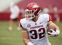 Hawgs Illustrated/BEN GOFF <br /> Hayden Johnson, Arkansas fullback, carries in the fourth quarter Saturday, April 6, 2019, during the Arkansas Red-White game at Reynolds Razorback Stadium.