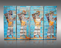 Coloured glazed terracotta brick panels depicting Achaemenid Persian royal bodyguards or archers. From the reign of Darius 1st and the First Persian or Achaemenid Empire around 510 BC excavated from the Palace of Daius 1st Susa, present day Iran. Susa was one of the residential cityes of the Achaemenid Kings. The Palaces are noteworthy for their elaborate decorations which can be considered exemplary of art at a royal court. The walls of Darius's palace at Susa were embellished with colourful reliefs made from glazed bricks on the Babylonian model. It is not certain which rooms of the palace was decorated with representations of a procession of royal bodyguards or archers, dressed in richly decorative costumes. Inv Ab3312-21, The Louvre Museum, Paris.